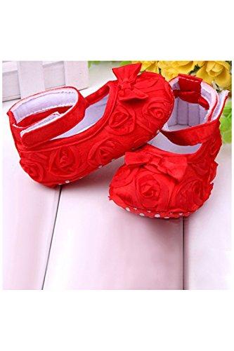 Zapatos - SODIAL(R)zapatos comodos de nino pequeno de princesa antideslizantes(12-18 meses, rojo)