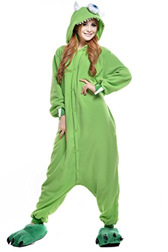 Mike Wazowski Costume For Adults (NEWCOSPLAY Halloween Unisex Adult Pajamas Cosplay Costumes (S, Michael)