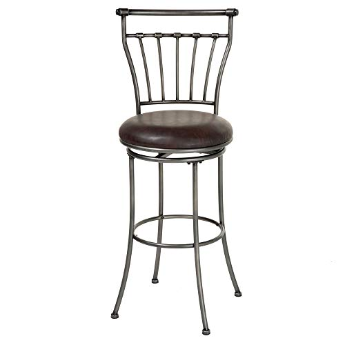 peka Swivel Seat Bar Stool with Striated Silver Finished Metal Frame and Coffee Faux Leather Upholstery, 30-Inch Seat Height ()