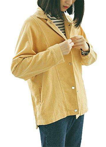 Giacca Manica Bavero Giacche Giallo Jothin Autunno Larghi Coste Lunga Pulsanti Donna Invernali Cardigan Cappotti A Tops Velluto Efqxvwn