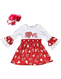 Infant Baby Girls Valentines Day Outfits Ruffle Pant Set