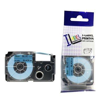 LM9BU 3/8 in Black on Blue Tape Cassette, 1/Pack ()