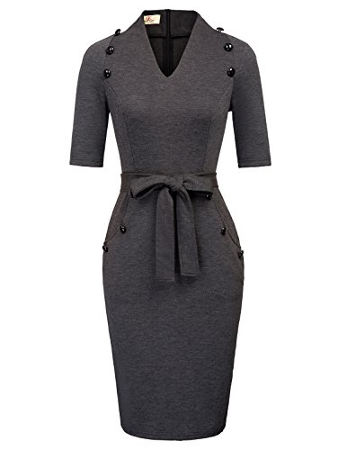 GRACE KARIN Women V-Neck Evening Business OL Bodycon Dress with Pockets L Grey