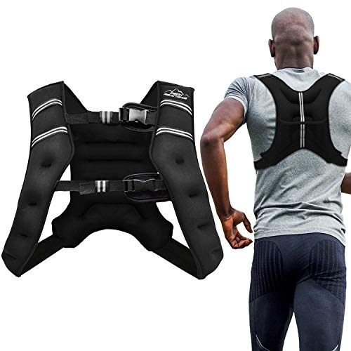 Aduro Sport Weighted Vest Workout Equipment, 4lbs/6lbs/12lbs/20lbs/25lbs Body Weight Vest for Men, Women, Kids (25 Pounds (11.34 KG)) (Best Weighted Vest Exercises)