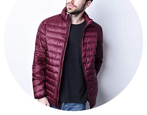 Winter Duck Down Jacket Mens Hooded Light Feather Coat Warm Mens,Wine red Standcollar,XL