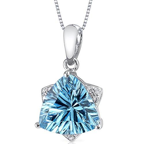 14 Karat White Gold Trillion Cut 2.39 carats Swiss Blue Topaz Diamond ()