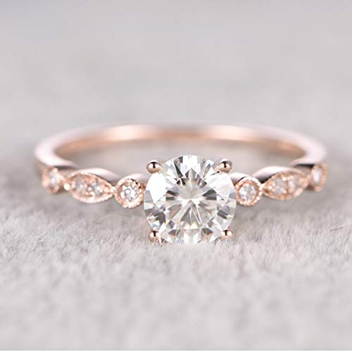 6.5mm Round Morganite Engagement Ring Diamond Wedding Ring 14k Rose Gold Milgrain Art Deco Band for Women(Rose Gold,6) ()