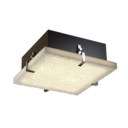 Justice Design Group Porcelina Collection 4-Light Clips Square Flush-Mount - Polished Chrome Finish with Bamboo Faux Porcelain Resin Shade