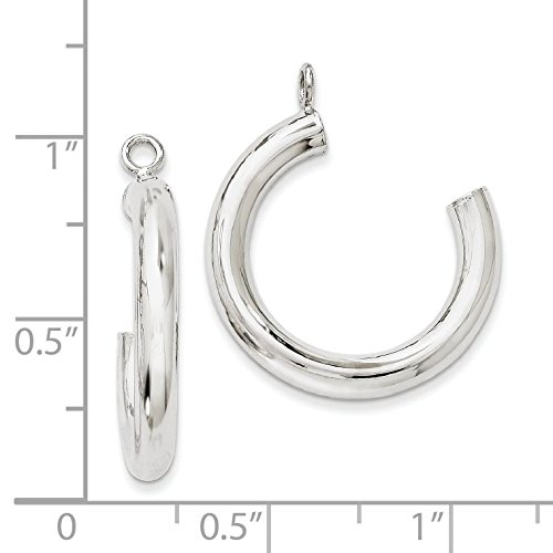 14K White Gold Polished Tube Hoop Earring Jackets - (1.14 in x 0.12 in) by Jewel Tie