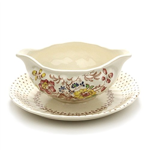 Grantham by Royal Doulton, China Gravy Boat, Attached Tray