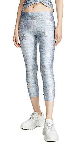 Terez Women's Balayage Capri Leggings, Heathered Stars Foil Balayage, Silver, Metallic, Print, Medium