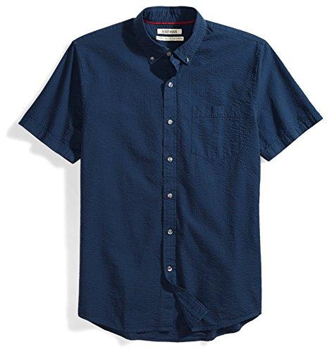 Goodthreads Men's Standard-Fit Short-Sleeve Seersucker Shirt, Solid Navy, - Casual Mens Standard Clothing