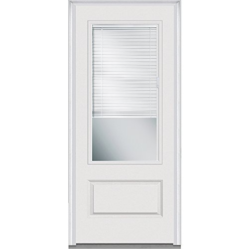National Door Company ZA07844L Fiberglass Smooth Brilliant White, Left Hand In-Swing, Prehung Door, 3/4 Lite 1-Panel, Clear Glass with RLB, 36