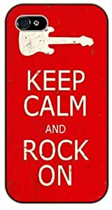iPhone 5 / 5s Keep Calm and rock on - black plastic case / Keep Calm, Motivation and Inspiration, vintage, guitar