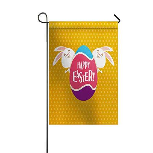 Warm Easter Day Garden Flags+Decorative Courtyard Seasonal Flag House Banners for Home Indoor Outdoor Welcome Holiday Yard Flags Funny Bunnies Hare 12x18inch -