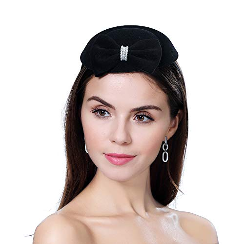 homy Fascinator Hats Feather Fascinators for Women Pillbox Hat Headband for Wedding Derby Tea Party Race -
