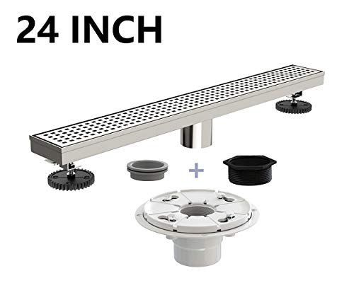 Ushower 24 Inch Linear Drain for Shower with Shower Drain Base, Grate Cover Linear Floor Drain Brushed Nickel, Rectangle Shower Bathroom Drain with Leveling Feet, Threaded Adapter ()