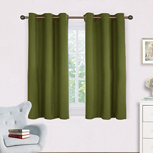 Bedroom Curtain Panels Blackout Draperies - NICETOWN Thermal Insulated Solid Grommet Blackout Curtains / Drapes (One Pair,42 by 45-Inch,Olive Green) (Panels Curtain Kitchen)