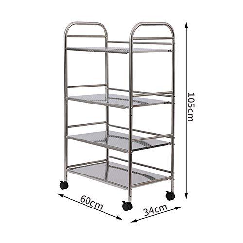 Shelf Storage Racks Cupboard Organizers Kitchen Landing Stainless Steel Four Floors Microwave Oven Rack It Can Move Wheeled Storage Rack 6034100.5cm ZHAOYONGLI by ZHAOYONGLI-shounajia (Image #2)
