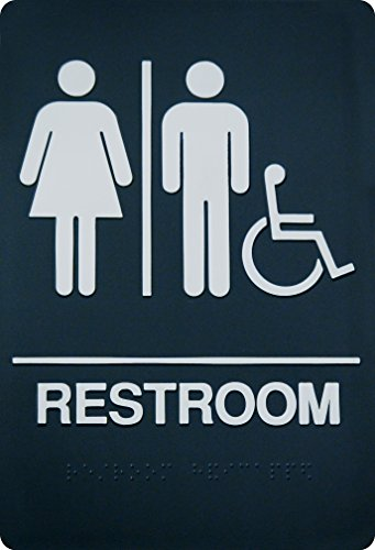 - Unisex Braille Restroom Sign - ADA Approved Bathroom Sign with Double Sided 3M Tape