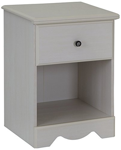 South Shore Country Poetry 1-Drawer Nightstand, White Wash with Silver Finish Knob