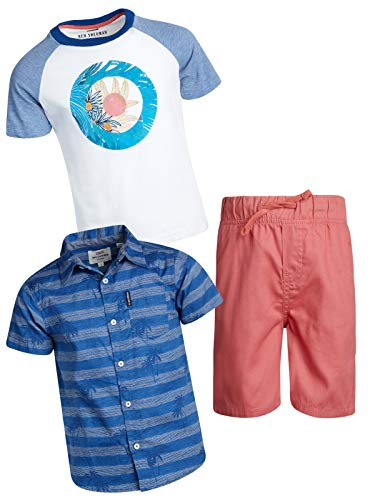 Ben Sherman Boy's 3 Piece Drawstring Short Set with Woven Shirt and Tee, Light Pink/Blue/White, Size 3T'