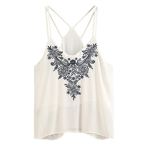 Embroidered Seersucker Pant (2018 Women Tank Flower Embroidered Tops Strappy Cami Top Topunder)