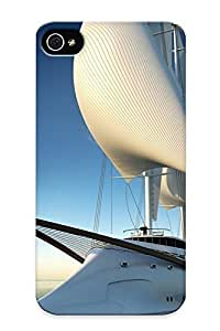 Fireingrass Ee5adc33836 Case For Iphone 4/4s With Nice Horizon Yatch Sails Blue Skies Appearance