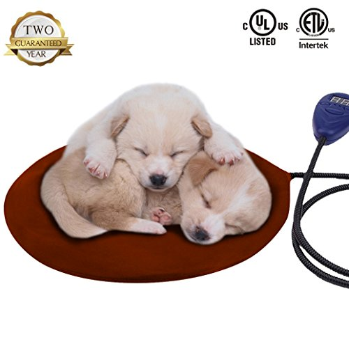 Warmstore Pet Heating Pad Heated Dog Beds Warmer - Cat Electric Heat Pad, Waterproof Adjustable Warming Mat Chew Resistant Steel Cord, Soft Removable Cover (Brown)