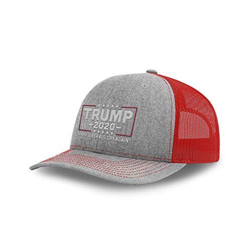 (Printed Kicks Trump Hat 2020 Make Liberals Cry Again Back Mesh (Heather Front/Red Mesh))