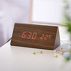 Wood Personal Alarm Clock, Accering LED Wooden Alarm Digital Dual Power Desk Clock, Voice Control, Display Time, Date, Week, Temperature and Humidity, Brown