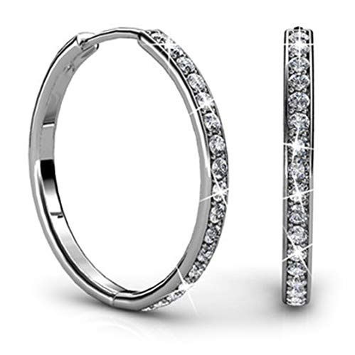 Jade Marie AMBITIOUS Large Silver Hoop Earrings, 18k White Gold Plated Round Hoop Earrings with Swarovski Crystals, Beautiful Sparkling Hoops with 17 Channel Set Stones, Hoop Dangle Earrings for Women