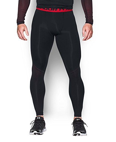 Under Armour Men's HeatGear Armour Printed Compression Leggings, Black/Red, XX-Large
