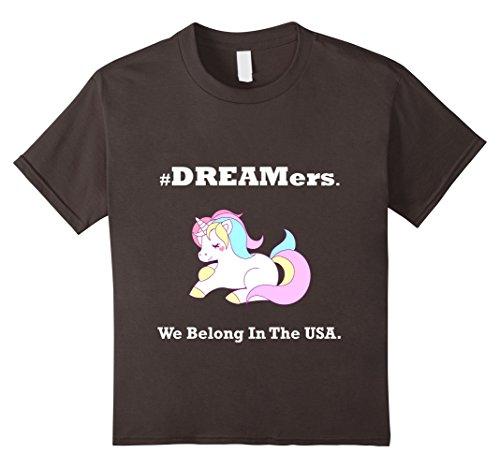 Kids America Unicorn #Dreamers We Belong USA T-shirt DX 12 Asphalt (Unicorn Merchandise)