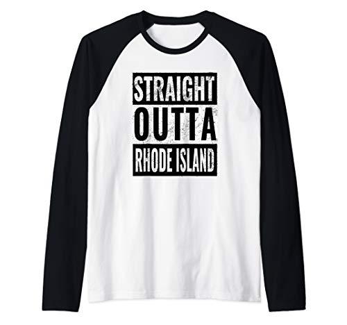 Straight Outta Rhode Island - Straight Out of Rhode Island Raglan Baseball Tee ()
