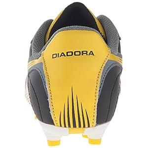 Diadora Boys' Pilone L MD PU Jr Soccer Shoe, Black/Yellow/Grey, 13 M US Little Kid