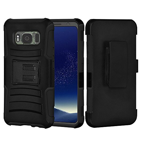Samsung Galaxy S8 Active Case, Premium ShockProof Slim Protective Case Heavy Duty Dual Layer Hybrid Cover with Belt Clip Holster for Samsung Galaxy S8 Active – Black
