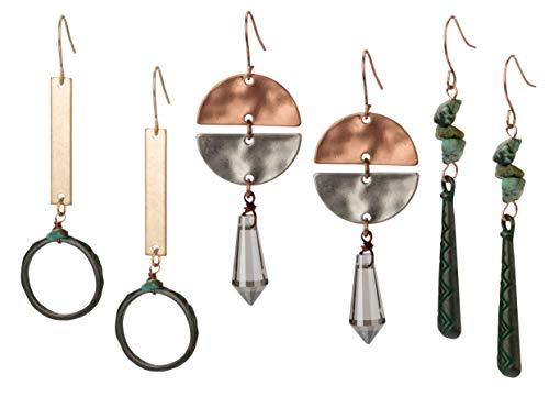 SPUNKYsoul Boho Earrings for Women (3 Pack) Fashion Jewelry Bohemian
