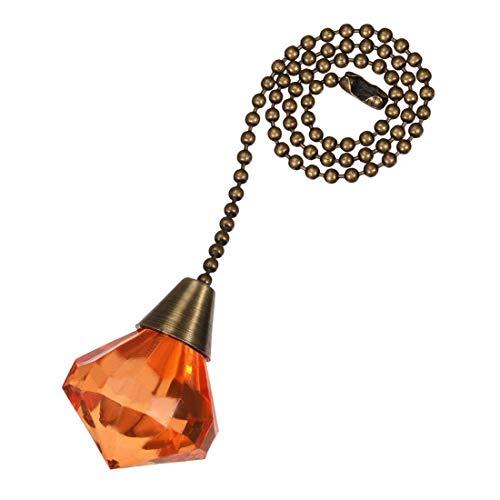 uxcell Orange Acrylic Diamond Pendant 12 inch Antique Brass Pull Chain for Lighting - Acrylic Antique Pendant