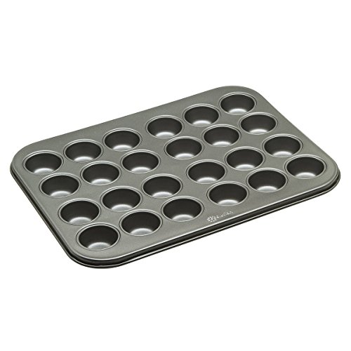 "Ecolution Bakeins 24 Mini Muffin and Cupcake Pan – PFOA, BPA, and PTFE Free Non-Stick Coating – Heavy Duty Carbon Steel – Dishwasher Safe – Gray – 13.5"" x 10.25"" x .75"" by Ecolution"
