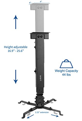 VIVO Black Universal Adjustable Wall Ceiling Projector Mount Bracket Extendable Length Projection (MOUNT-VP06B) by VIVO (Image #2)