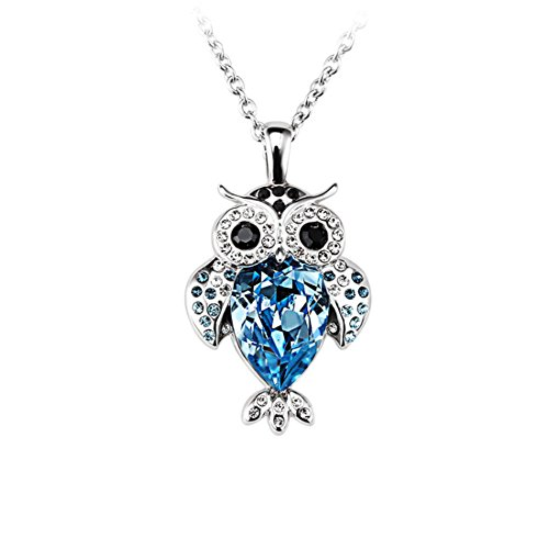 FANSING Jewelry Raindrop Shaped Austrian Crystal Owl Pendant Necklaces for Women & Girls, Blue (Cute Mushroom Costume)