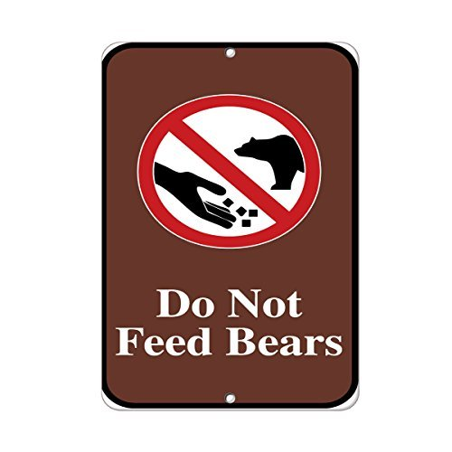 Feed Tin Sign Store (VictorJoan Do Not Feed Bears Traffic Sign Aluminum Metal Sign Tin Sign 7 in x 10 in.)