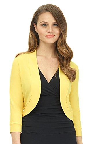 - Rekucci Women's Soft Knit Rounded Hem Stretch Bolero Shrug (X-Large,Canary)