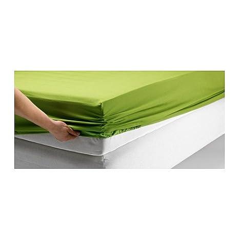 Ikea Lenzuola Con Angoli.Ikea Dvala Verde Lenzuolo Con Angoli 100 Cotone Full Amazon It