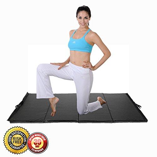 New 4'x10'x2″ Gymnastics Mat Folding Panel Gym Fitness Exercise Mat Black
