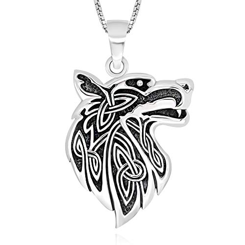 925 Sterling Silver Celtic Wisdom Wolf Head Pendant Necklace, ()