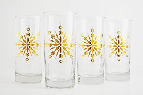 Gold Snowflake Glasses - Set of 4 Holiday Glasses, Christmas Glassware, Gold Christmas Glasses