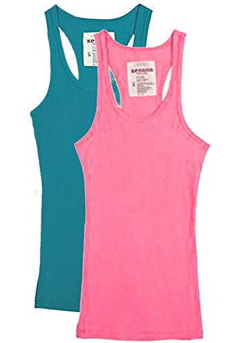 Trendyfriday Women's Ribbed Racerback Athletic Active Tank Tops 2 or 4 Packs (Small, 2 Pack - S Teal, N Pink) (Long Tank Rib)