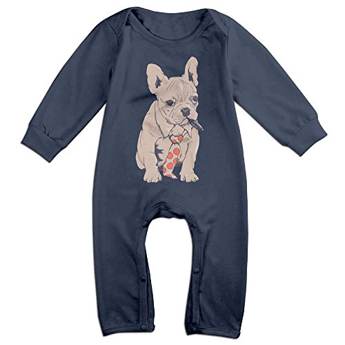 Baby Bull Costumes (Baby Infant Romper French Bulldog Boss Long Sleeve Jumpsuit Costume Navy 24 Months)